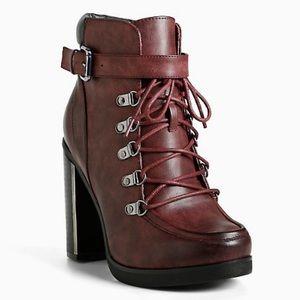 torrid Shoes - Torrid oxblood lace up combat boot size 7.5 wide